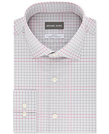 Michael Kors Men's Slim-Fit Non-Iron Airsoft Performance Stretch Gray Multi-Check Dress Shirt