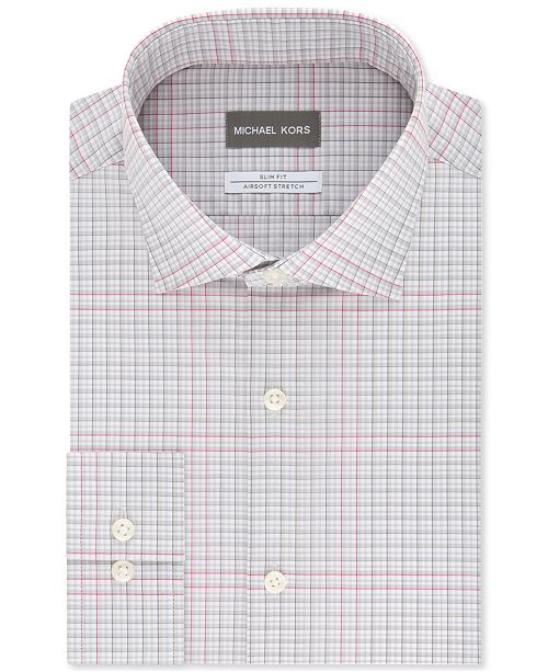 Michael Kors Men's Slim-Fit Non-Iron Airsoft Performance Stretch Gray Multi-Check Dress Shirt
