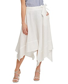 Belted Asymmetrical-Hem Skirt