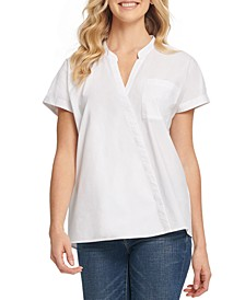 Mandarin-Collar Linen Top