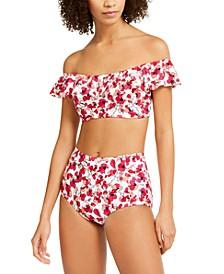 Floral Off-The-Shoulder Flounce Bikini Top & High-Waist Bottoms