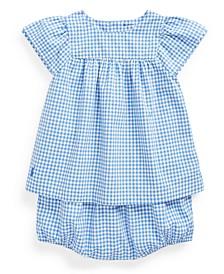 Baby Girls Cotton Gingham Top & Bloomer Set