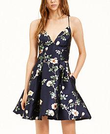 B Darlin Juniors' Floral-Print A-Line Dress