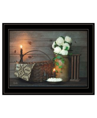 White Flowers by Susie Boyer, Ready to hang Framed Print, Black Frame, 19