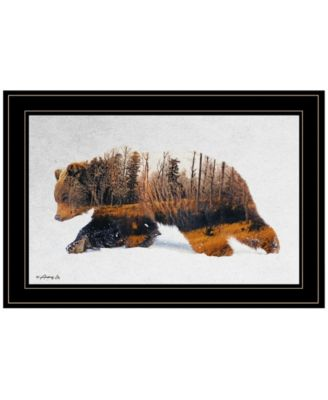 Traveling Bear by andreas Lie, Ready to hang Framed Print, White Frame, 21