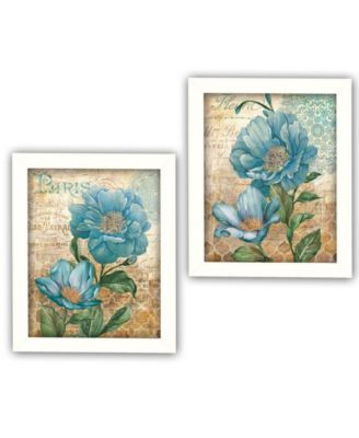 Paris Blue Collection By Ed Wargo, Printed Wall Art, Ready to hang, White Frame, 14
