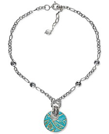 "Silver-Tone Leather-Inset Doorknocker Pendant Necklace, 18"" + 2"" extender"