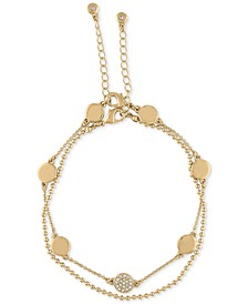 Gold-Tone Pavé Disc Two-Row Anklet