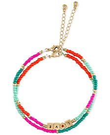 Gold-Tone Love Charm & Multicolor Bead Two-Row Bracelet