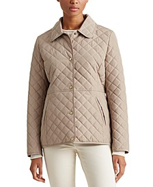 Petite Faux-Leather-Trim Quilted Jacket