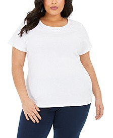 Plus Size Cotton Crochet-Trim Top, Created for Macy's
