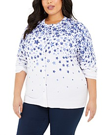 Plus Size Star-Print Cardigan, Created for Macy's