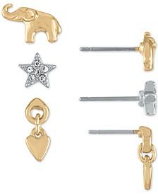 Two-Tone 3-Pc. Set Elephant & Star Stud Earrings
