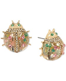Gold-Tone Pavé Floral Ladybug Stud Earrings