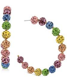 "Gold-Tone Large Multicolor Pavé Fireball C-Hoop Earrings, 2.75"""