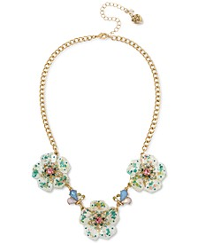 "Gold-Tone Crystal Flower Statement Necklace, 16"" + 3"" extender"