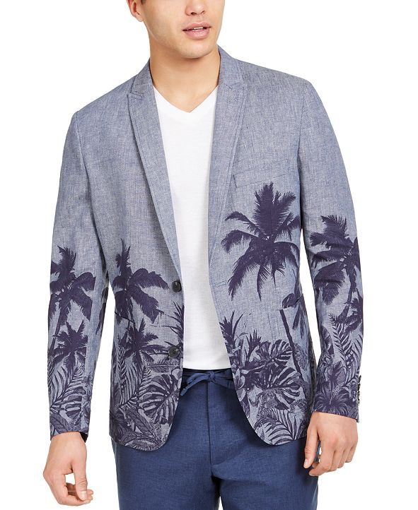 INC International Concepts INC Men's Big & Tall Palm Tree Graphic Blazer, Created for Macy's