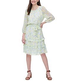 Printed Ruffle-Trim Dress