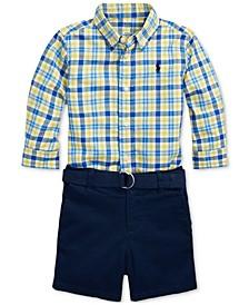 폴로 랄프로렌 남아용 반바지  Polo Ralph Lauren Baby Boys Shirt, Belt & Shorts Set,Yellow Multi