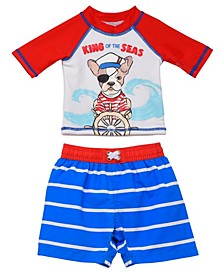 Infant Boys 2 Piece Rashguard Set Featuring A Dog Pirate Design