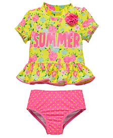 Infant Girls 2 Piece Rashguard Set Featuring A Bold Floral Design