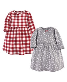Baby Toddler Girls Snowflake Dresses, Pack of 2
