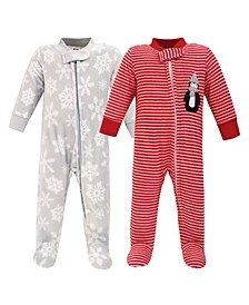 Baby Girls and Boys Penguin Fleece Sleep and Play, Pack of 2