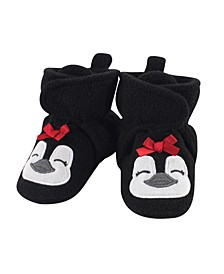 Baby Girls Penguin Cozy Fleece Booties