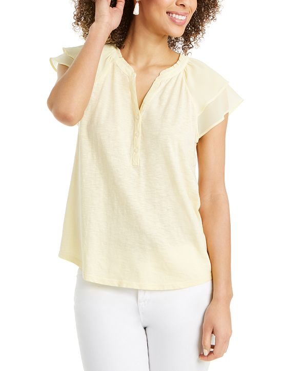 Style & Co Ruffled Split-Neck Top, Created for Macy's