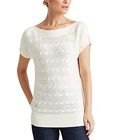 Short-Sleeve Cable-Knit Sweater