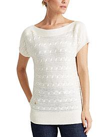 Lauren Ralph Lauren Short-Sleeve Cable-Knit Sweater