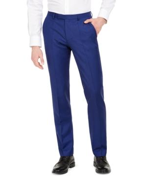 Hugo Men's Modern-Fit Bold Blue Solid Suit Pants