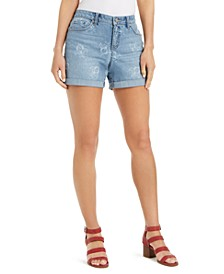 Gossamer-Print Boyfriend Shorts, Created for Macy's