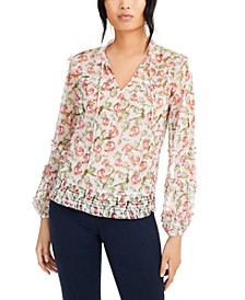 INC Printed Peasant Blouse, Created for Macy's
