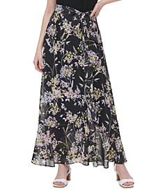 Floral-Print Tie-Front Maxi Skirt
