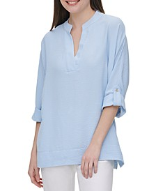 V-Neck Roll-Sleeve Blouse
