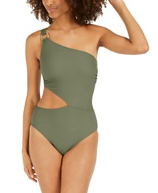 Textured One-Shoulder Cutout One-Piece Swimsuit