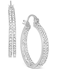 """Small Crystal In & Out Double Hoop Earrings in Fine Silver Plate, 1"""""""