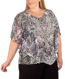 Plus Size Printed Studded Top