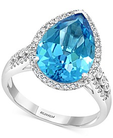EFFY® Blue Topaz (5-7/8 ct. t.w.) & Diamond (1/3 ct. t.w.) Ring in 14k White Gold