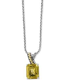 "EFFY® Lemon Quartz 18"" Pendant Necklace (5-5/8 ct. t.w.) in Sterling Silver & 18k Gold"