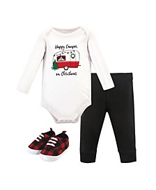 Baby Girls and Boys Christmas Camper Bodysuit, Pant and Shoe Set, Pack of 3