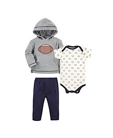 Baby Boys Football Hoodie, Bodysuit or Tee Top and Pant Set, Pack of 3