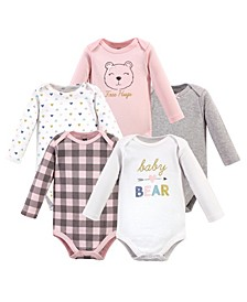 Baby Girls Bear Long-Sleeve Bodysuits, Pack of 5