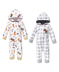 Baby Girls and Boys Woodland Fleece Jumpsuits, Coveralls and Playsuits, Pack of 2