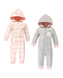 Baby Girls and Boys Bear Fleece Jumpsuits, Coveralls and Playsuits, Pack of 2