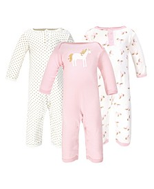 Baby Girls and Boys Gold-Tone Unicorn Coveralls, Pack of 3
