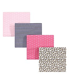 Baby Girls and Boys Leopard Flannel Receiving Blankets