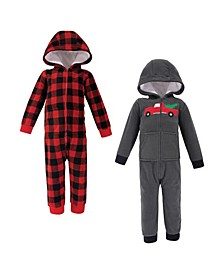 Baby Toddler Girls and Boys Christmas Tree Fleece Jumpsuits, Coveralls and Playsuits, Pack of 2