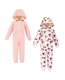 Baby Toddler Girls and Boys Floral Fleece Jumpsuits, Coveralls and Playsuits, Pack of 2